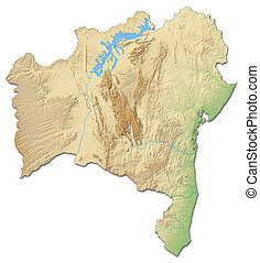 Relief map - Bahia (Brazil) - 3D-Rendering