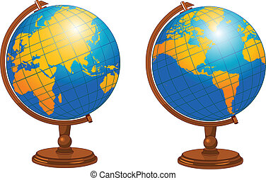 World globe - Illustration of world globe in different...