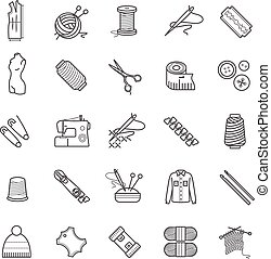 Outline web icons - needlework, sewing, knitting