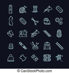 Thin line icons set - needlework, sewing, knitting