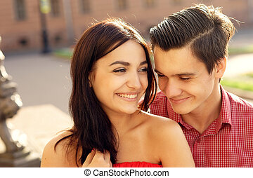Couple in love walking in city - Closeup portrait of young...
