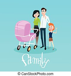Happy Family With Pram, Parents And Children Flat Vector...