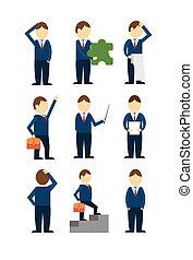 Business Man Worker Icon Collection Businessman Day Concept...