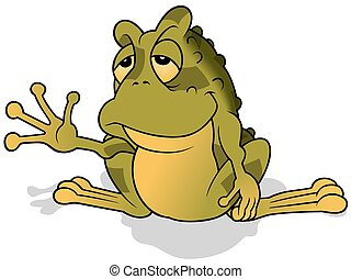 Sleepy Green Frog - Colored Cartoon Illustration, Vector