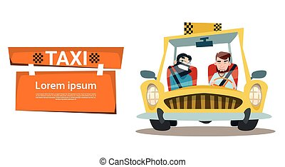 Taxi Service Two Man Cab City Transport Flat Vector...