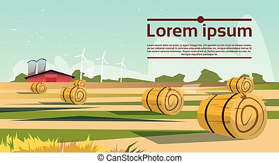 Agriculture And Farming, Field With Wind Turbine Farmland...