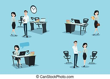 Business Woman Working Day Set Office Desk Workplace Flat...