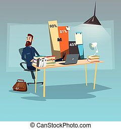 Business Man Sitting Desk Statistic Data Finance Graph Bar Office Workplace