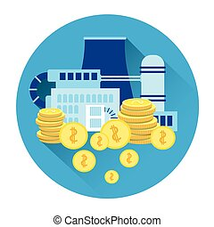 Factory Production Plant Icon Industry Investment Concept
