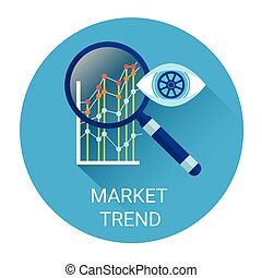 Market Trend Icon Financial Graph With Magnifier