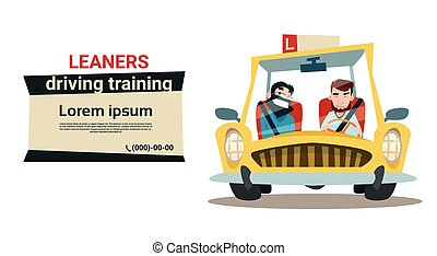 Driving Training Courses Practice Instructor With Student In...