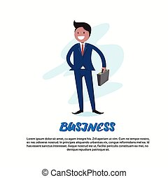 Businessman Smile Hold Briefcase Full Length Cartoon...