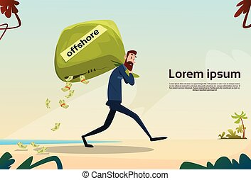 Business Man Carry Money Bag Seaside Background Tax Concept...
