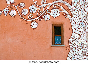 Orange wall, stylistic painted tree - Colorful orange wall...