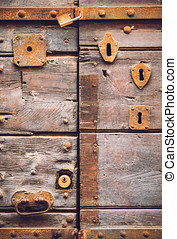 Old door with many doorlocks