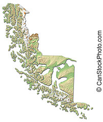 Relief map - Magellan and Chilean Antarctica (Chile) - 3D-Rendering