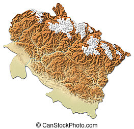 Relief map - Uttarakhand (India) - 3D-Rendering