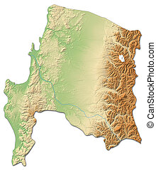 Relief map - Bio-Bio (Chile) - 3D-Rendering