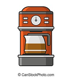 Coffee Machine Icon. Vector - Coffee Machine Icon with a Hot...