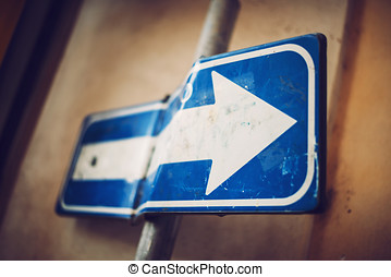 Detail of Rome city, Italy. Bended traffic sign