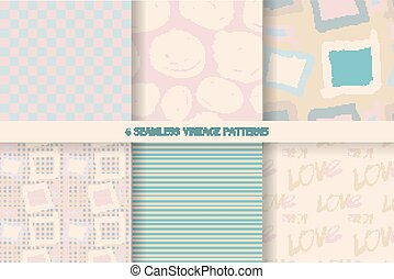 Set of vintage seamless patterns in pastel tones. Vector...