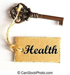 key to health and long life concept with label