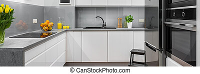 White modern kitchen - Panorama of modern and spacious...