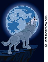 Howling wolf - Illustration of howling wolf that stands on...