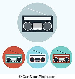Old Vintage Boombox vector icon set