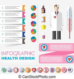 Medical vector icon set - Colorful Healthcare Infographic...