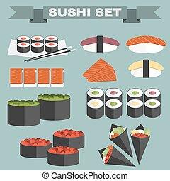 Big colorful icon set of sushi