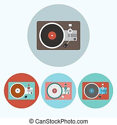 Record Player colorful icon set - Record Player icon set....