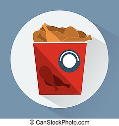 Bucket of chicken legs colorful round icon - Bucket of...