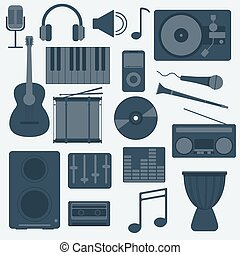 Music Instruments and Gadgets Big vector icon set - Music...