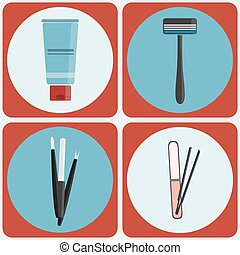 Beauty tools colorful icon set
