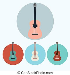 Acoustic Guitar colorful icon set
