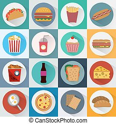 Fast Food Icons Set - Colorful Fast Food and Snacks Icons...