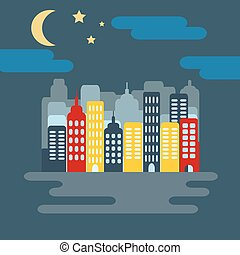 Cityscape with Skyscarpers and Half Moon at Night -...