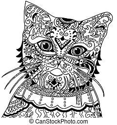 cat head with vintage ornate