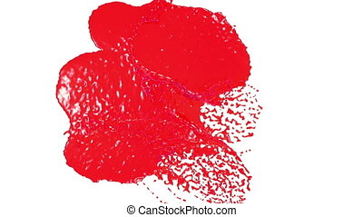 red drops falling on white screen. syrup