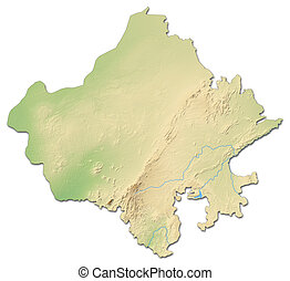 Relief map - Rajasthan (India) - 3D-Rendering