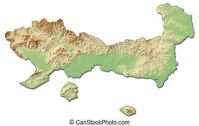 Relief map - East Macedonia and Thrace (Greece) - 3D-Rendering