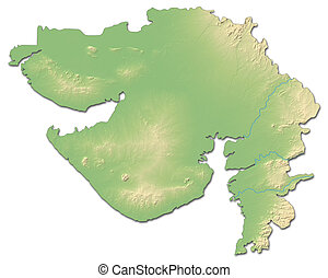 Relief map - Gujarat (India) - 3D-Rendering