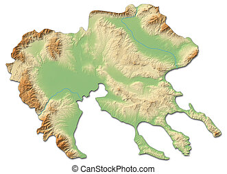 Relief map - Central Macedonia (Greece) - 3D-Rendering