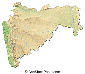 Relief map - Maharashtra (India) - 3D-Rendering