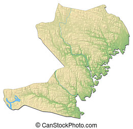 Relief map - Vaesternorrland County (Sweden) - 3D-Rendering...