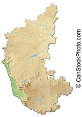 Relief map - Karnataka (India) - 3D-Rendering