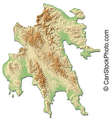 Relief map - Peloponnese (Greece) - 3D-Rendering