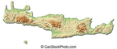 Relief map - Crete (Greece) - 3D-Rendering