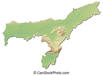 Relief map - Assam (India) - 3D-Rendering